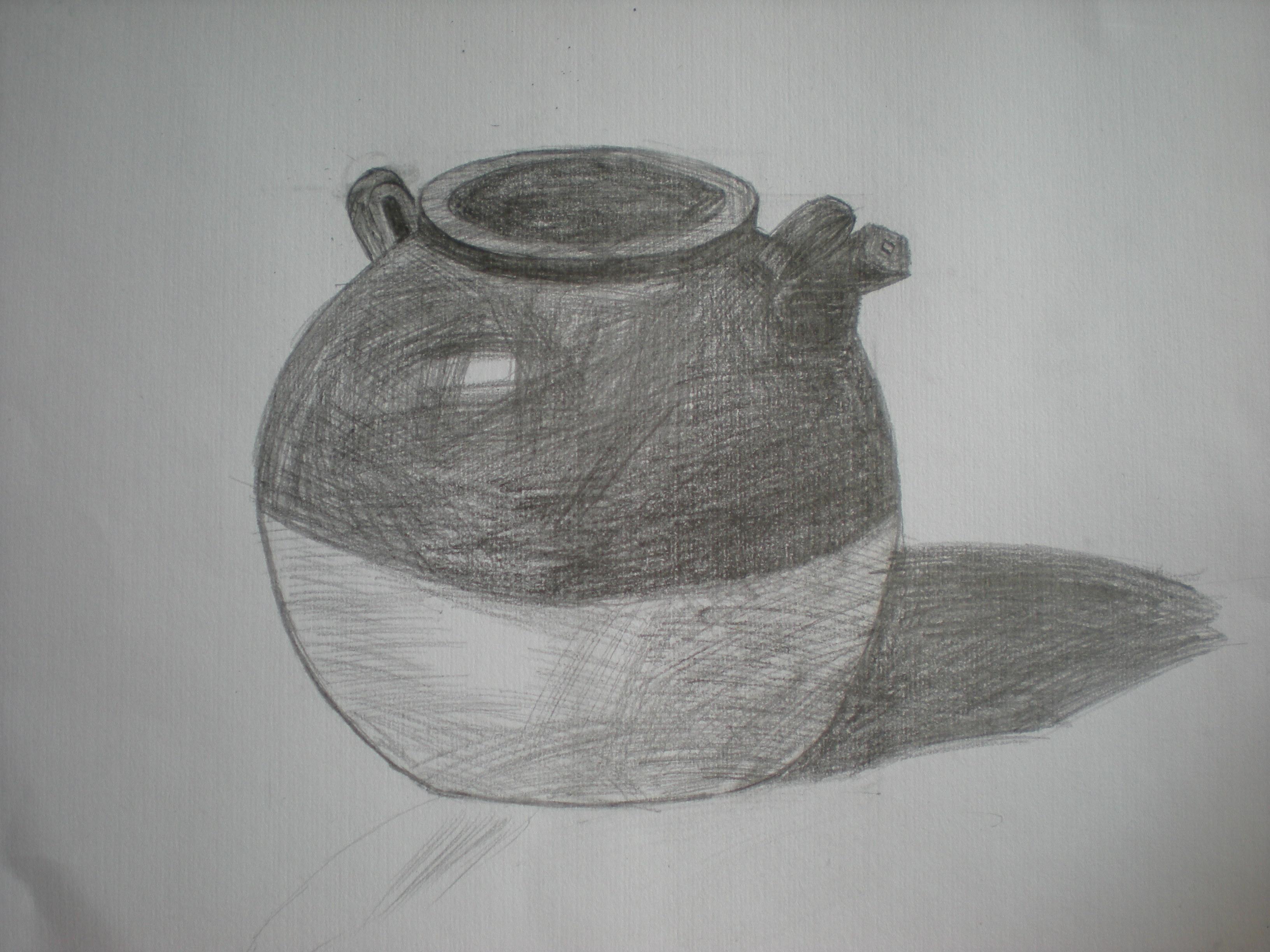 萝卜白菜陶罐素描展示